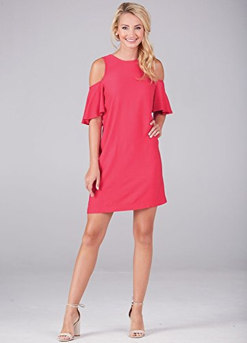 Mud Pie Fashion - Mud Pie Women Fashion Raspberry Cora Cold Shoulder Dress,Pink,Small