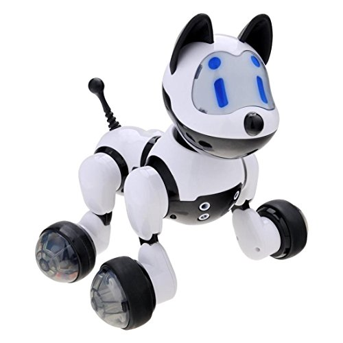 Interactive Toys for Boys Girls,Dressin Voice Recognition Intelligent Electronic Toy Dog Puppy Music Shine Action Toy Pet Electronic Robot Novelty Gift for Kids (White)