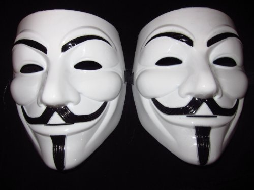 (2ct) V For Vendetta Mask Guy Fawkes Carnival