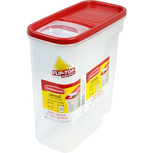 Rubbermaid Flip Top Cereal Keeper, Modular Food Storage Container, BPA-free, 18 Cup, Red (1856059)