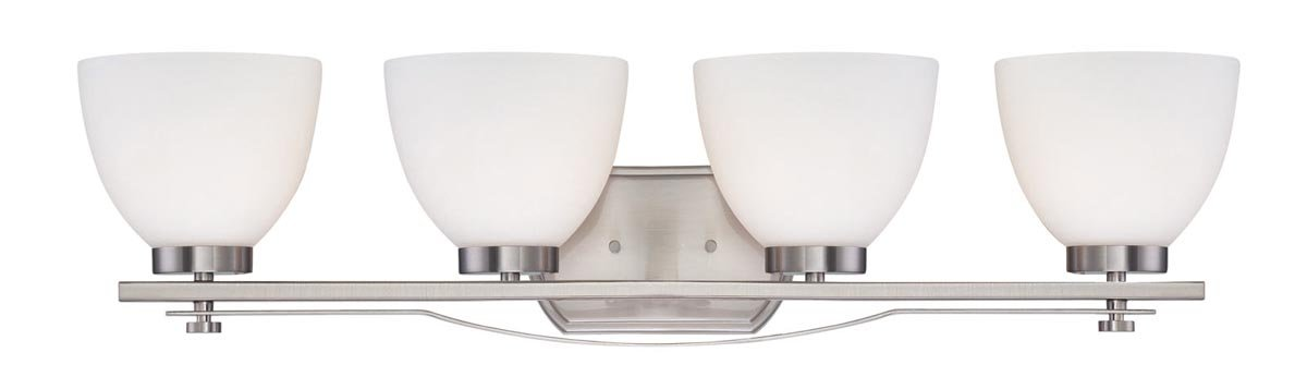 Nuvo Lighting 60 5019 Bentley Four Light Vanity 100 Watt A19 Max. CUL Damp Location Frosted Glass Brushed Nickel Fixture