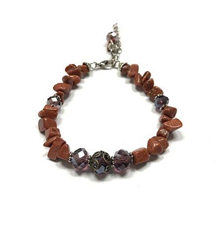 - Large Purple Crystal and Natural Goldstone Bracelet. Adjustable. Beaded Charm. Antique Style. Heart Chakra Bracelet.