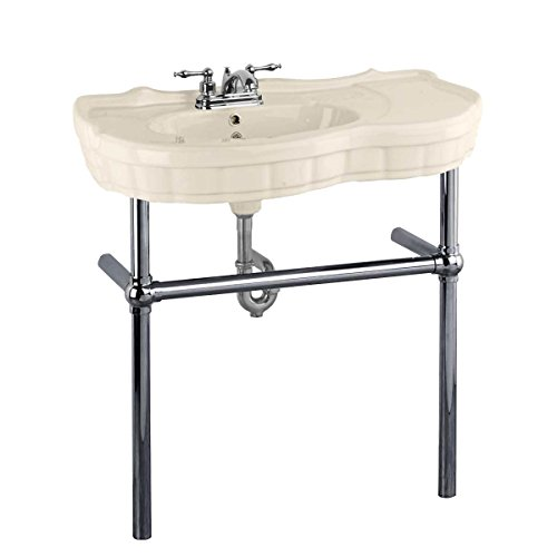 Bone Console Sink China Southern Belle With Black Nickel Bistro Legs ()