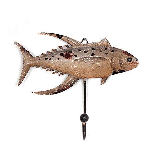 Metal Farmhouse Fish Wall Hook Coat Hook Hanger, Decorative Fish Key Hook Wall Hanger Key Hooks for Wall