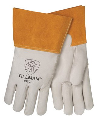 Tillman Small Pearl Top Grain Cowhide Unlined Standard Grade MIG Welders Gloves With Wing Thumb, 4'' Cuff, Seamless Forefinger And Kevlar® Lock Stitching