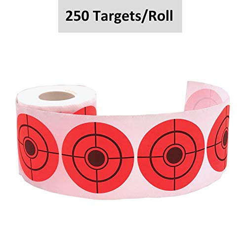 Self Adhesive Bullseye - GearOZ Fluorescent Red Easyshot Shooting Target Stickers-250 Bullseye Range Targets/Roll,High Visibility Premium Grade Self-Adhesive Sticker Paper Roll for Long & Short Range Shooting