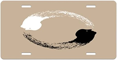 Ambesonne Yin and Yang License Plate High Gloss Aluminum Novelty Plate 5.88 X 11.88 Abstract Artwork of an of Harmony Human Portraits Yoga Black White and Tan