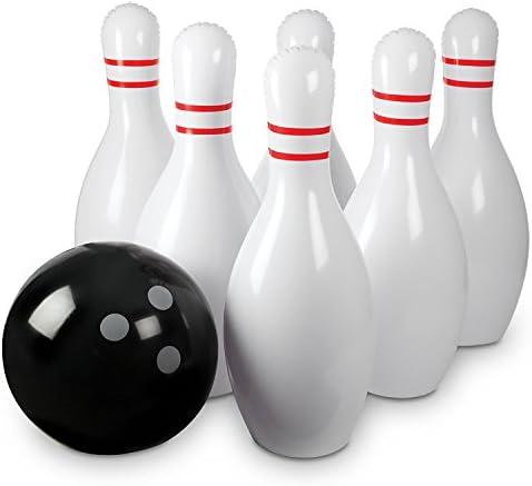 Jouez /à des Jeux dInt/érieur ou /à des Jeux dExt/érieur pour la Famille Ensemble de Bowling Gonflable Jeu de Bowling pour Enfants Une Balle de 15 Pouces avec 6 Quilles de Bowling de 27 Pouces
