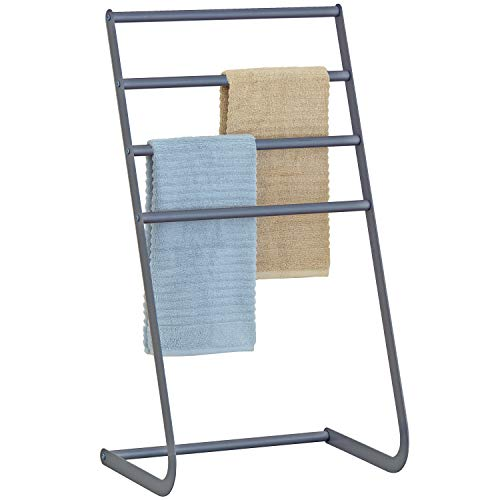 MyGift 32 Inch Freestanding Metal Towel Rack, 4 Tier Laundry Drying Stand, Grey