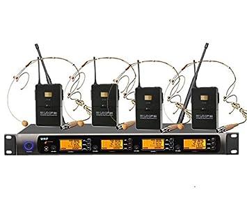 Boly 4 x 100 Profesional canales UHF sistema de micrófono auricular inalámbrico: Amazon.es: Electrónica