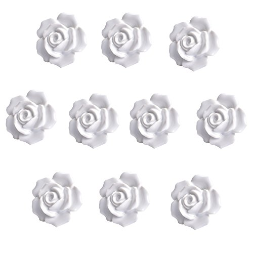 - Agile-Shop 10 Pcs Ceramic Vintage Floral Rose Flower Door Knobs Handle Drawer Kitchen + Screws (White)