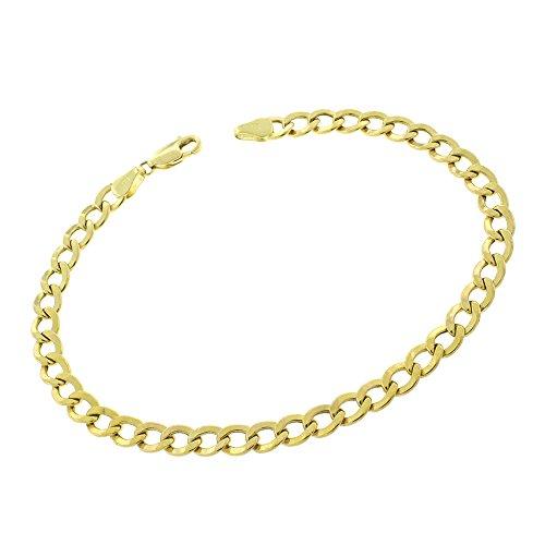(MCS Jewelry 10 Karat Yellow Gold Curb Link Chain Bracelet 8.25