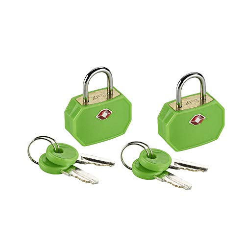 Lewis N. Clark Travel Sentry TSA Lock + Mini Padlock for Luggage Suitcase, Carry On, Backpack, Laptop Bag or Purse - Perfect for Airport, Hotel, And Gym (Includes 4 keys) - 2 Pack, Green ()