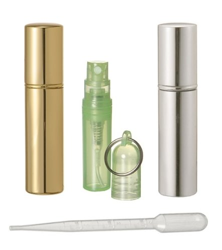 Riverrun Set of 6 Gold and Silver Purse/Travel Perfume/Cologne Atomizers Key Chain Bottle 10ml .33 oz (3 Bottles of Each Color) ()
