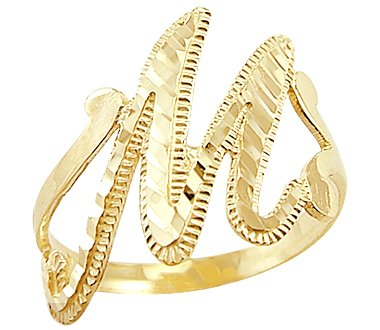 Sonia Jewels Size- 6-14k Yellow Gold Initial Letter Ring M