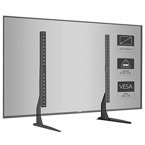 BONTEC Universal Soporte para TV, Pedestal de TV para Television LCD LED Plasma Plano 22-65 Pulgadas, Peanas para TV Carga Max. 50 kg - VESA Max. 800x400mm