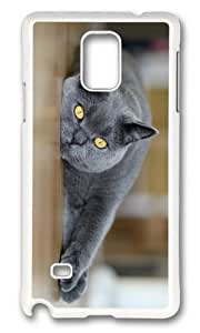 MOKSHOP Adorable Cat yellow Eyes Hard Case Protective Shell Cell Phone Cover For Samsung Galaxy Note 4 - PC White