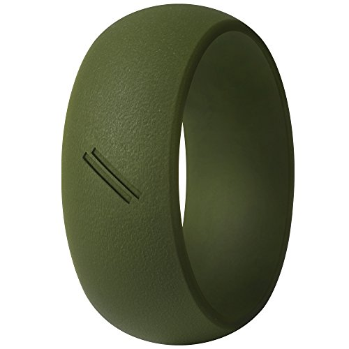 ThunderFit Silicone Wedding Ring for Men, Rubber Wedding Band (Olive Green, 12.5-13 (22.2mm))