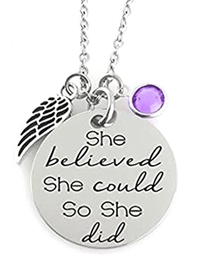 Little Angel Stocking - GLAM - 'SHE BELIEVED SHE COULD SO SHE DID' Inspirational Positive Message Mantra Pendant Angel Bird Wing Charm Necklace (Light Purple)