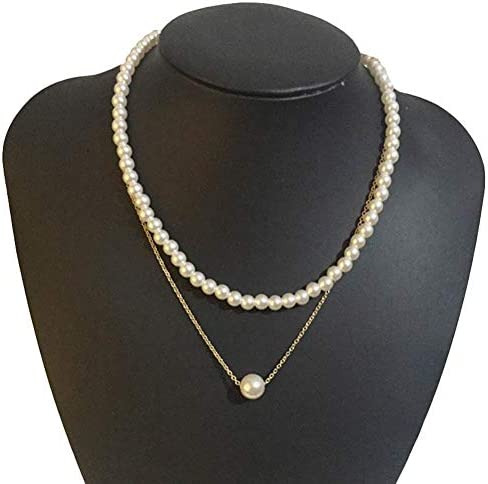 MileHouse prettDliJUN Double Layer Faux Pearl Inlaided Clavicle Chain Pendant Necklace Jewelry for Women Golden