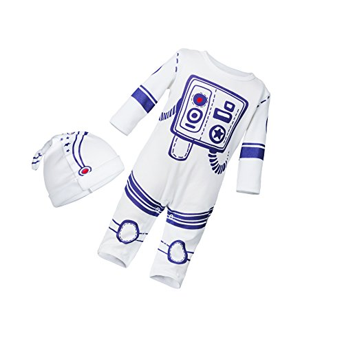 2pcs Baby Boy Girl Jumpsuit One Piece Romper Spaceman Astronaut Outfit With Hat White 73(6-12M)]()