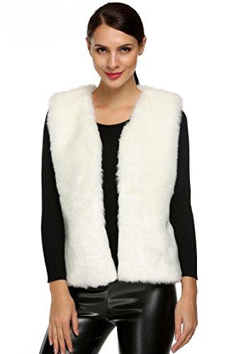 VOG Women's Rabbit Fur Vest Gilet Sleeveless Winter for sale  Delivered anywhere in USA