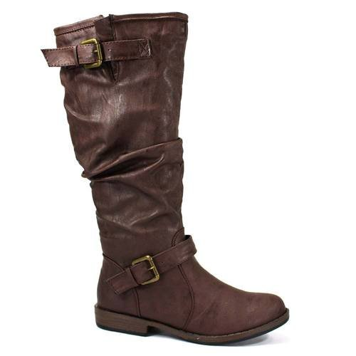 Bamboo Women's Montage 02N Fashion Riding Boots with Buckle, Brown CRP, - Brown Bamboo