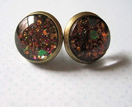 Antiqued Gold-Tone Brown Green Black Glitter Glass Stud Earrings 1/2