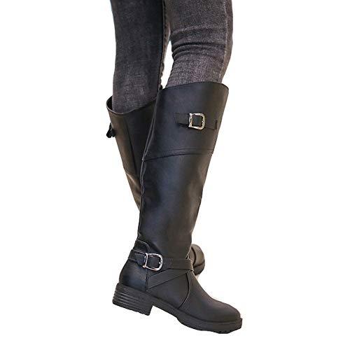 Eleganti Stivali Fibbia Alti Zip Lungo Pelle Stivaletti Marrone Invernali Equitazione 35 Piatto 43 Cachi Scarpe Donna Nero 8Fx08