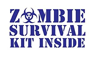 Zombie Survival Kit Inside - Decal / Sticker - Size: 8.5 x 4 inches - Color: Blue
