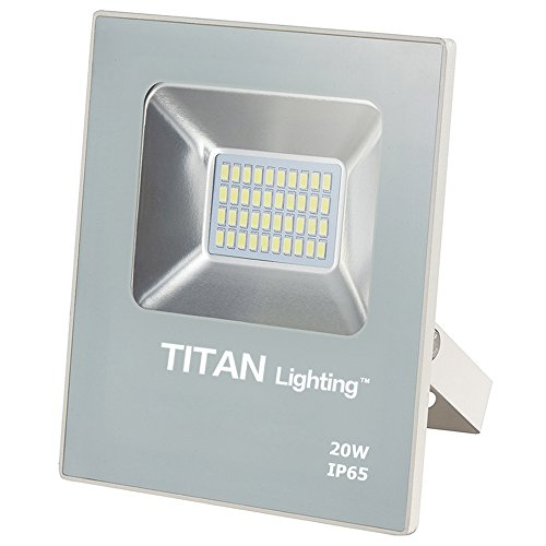 Titan Lighting White Frameless 20W Led Flood Lights, 100W Halogen/CFL Replacement, 1700LM, 6000K Day Light, Waterproof, 120-277V, Instant on