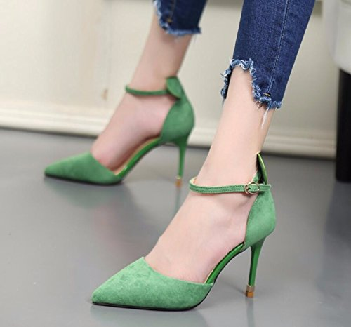 KHSKX-Green 9Cm Sweet Lovely Princess Shoes High-Heeled Shoes In The Fall The New Tip Satin Fine With The Slotted Strap Hollow Single Shoes 35 bhXAxQ