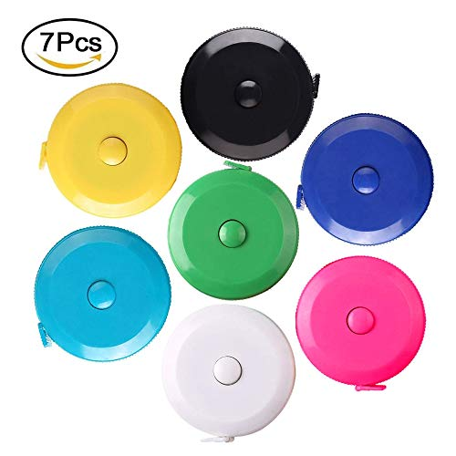 Retractable Measuring Tape Push Button Tape Measure 60-Inch (1.5 Meter) Soft Sewing Pocket Tape Measures,7-Pack,Colorful