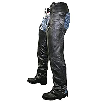 Xelement B7555 Classic Mens Black Braided Elastic Fit Leather Chaps - 36