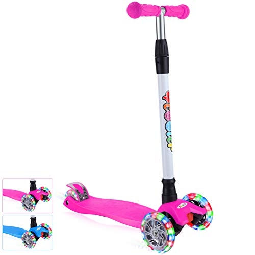 BELEEV Kick Scooter for Kids 3 Wheel Scooter, 4 Adjustable Height, Lean to Steer with PU LED Light Up Wheels for Children from 3 to 14 Years Old (Pink)
