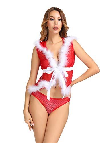 Kranchungel Women's Naughty Velvet Santas Sweetie Teddy Sexy Lingerie Costume 1X -