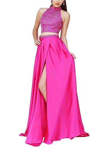 brlmall Top de cuello alto con cuentas satén, vestido largo de Fiesta con bolsillo rosa Hotpink 40