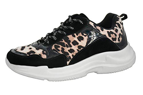 Lucky Step Women White Chunky Dad Ugly Shoes Purple Hologram Leopard Casual Sneakers (10 B(M) US, Leopard)
