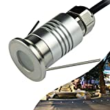 CNBRIGHTER LED Mini In-Ground Well Light-Finger Size,1W 12V DC,120° Wide Beam Angle,IP67 Waterproof,Recessed Marker Indicator Underground Outdoor Landscape Lightings,Warm White(3000K)