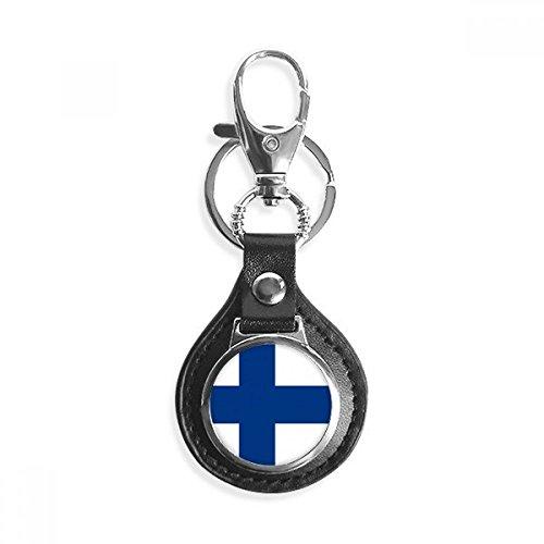 Finlandia bandera nacional Europe Country símbolo clave Anillo Cadena de metal de piel coche Llavero Regalo
