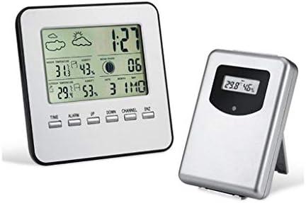 JJZXT Wetterstation Wireless Digital Indoor Outdoor Thermometer, Hygrometer Großanzeige Temperatur und Feuchte-Monitor mit Kalender