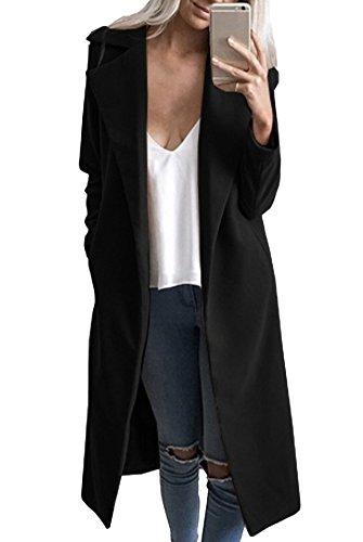 Casuale Capispalla Giacche Inverno Lana Giacca Cardigan Nero Blazer Trapuntata Di Elegante Autunno Cappotti Donna Lungo q10wZFCx