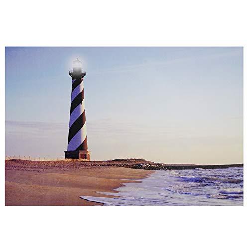 (Northlight LED Lighted Lighthouse Seaside Beach Scene Canvas Wall Art, 15.75