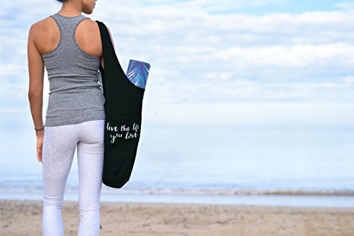 Yoga Mat Bag w/ FREE BONUS Yoga Mat Shoulder Strap by Decipher Active Tote Style Sling Carrier w/ Zipper & Large Front Pocket Fits All Standard Size Yoga Mats & Accessories Handlettered Quote