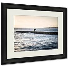 Ashley Framed Prints, Surfer On Wave Breaker Near Waikiki Beach, Wall Art Decor Giclee Photo Print In Black Wood Frame, Ready to hang, 20x25 Art, AG6409192