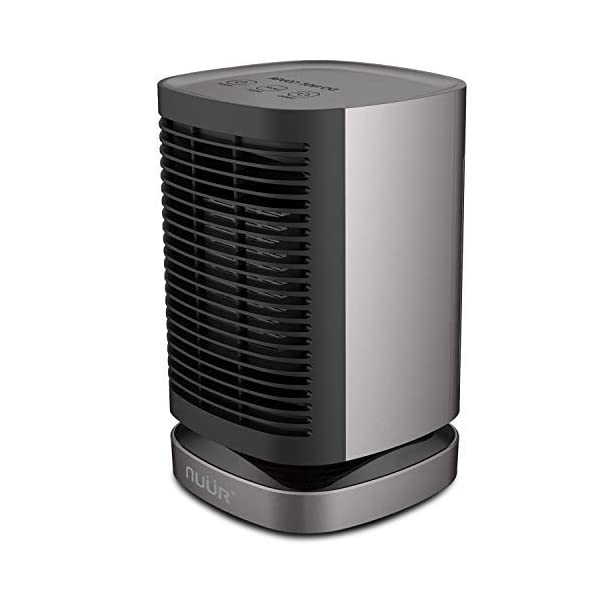 NUÜR Ceramic Electric Space Heater with Auto Oscillation Fan, Over-Heat and Tilt Protection, Warm and