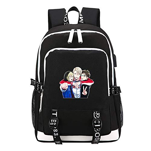 (Anime YUR on ICE Printing Backpack Canvas High School Bags USB Charging Laptop Backpack Women Travel Backpack Cartoon Daypack (2))