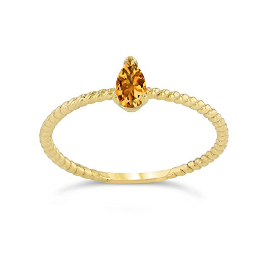 Citrine Rope - Dainty 14k Yellow Gold Solitaire Citrine Pear-Shaped Modern Engagement Rope Ring (Size 5.75)
