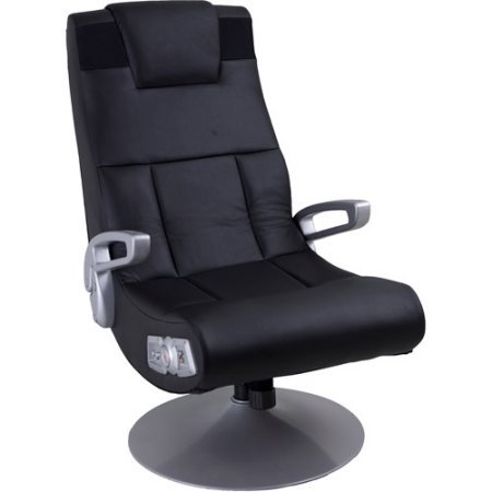 X Video Rocker Pedestal 2.1 Wireless Sound Gaming Chair made of Vinyl and Brushed Aluminum, Black, 51274 by X Rocker