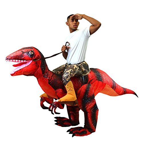 Spooktacular Creations Inflatable Raptor Riding a Raptor Dinosaur Deluxe Costume - Adult Size